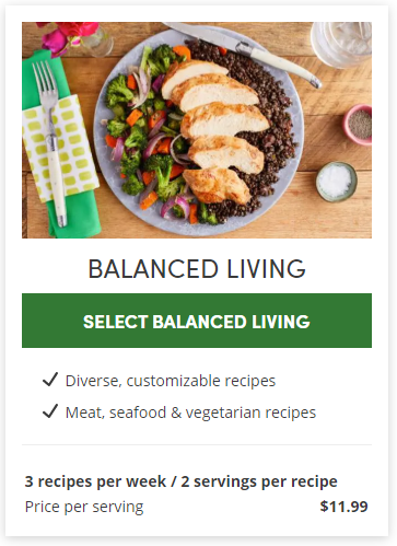 Balanced living meal plan from Green Chef