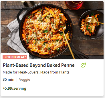 Beyond Meat Penne from Hello Fresh meal delivery service