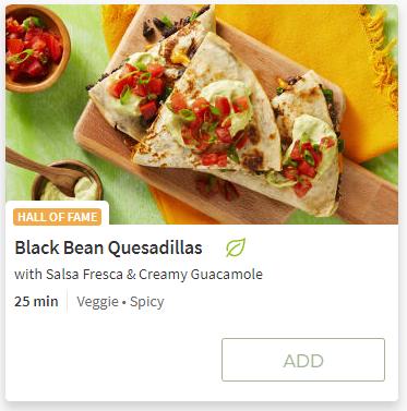 Black Bean Quesadillas from Hello Fresh