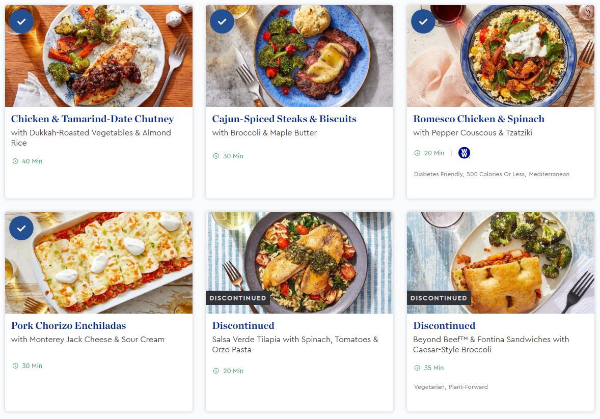 Six Blue Apron menu options