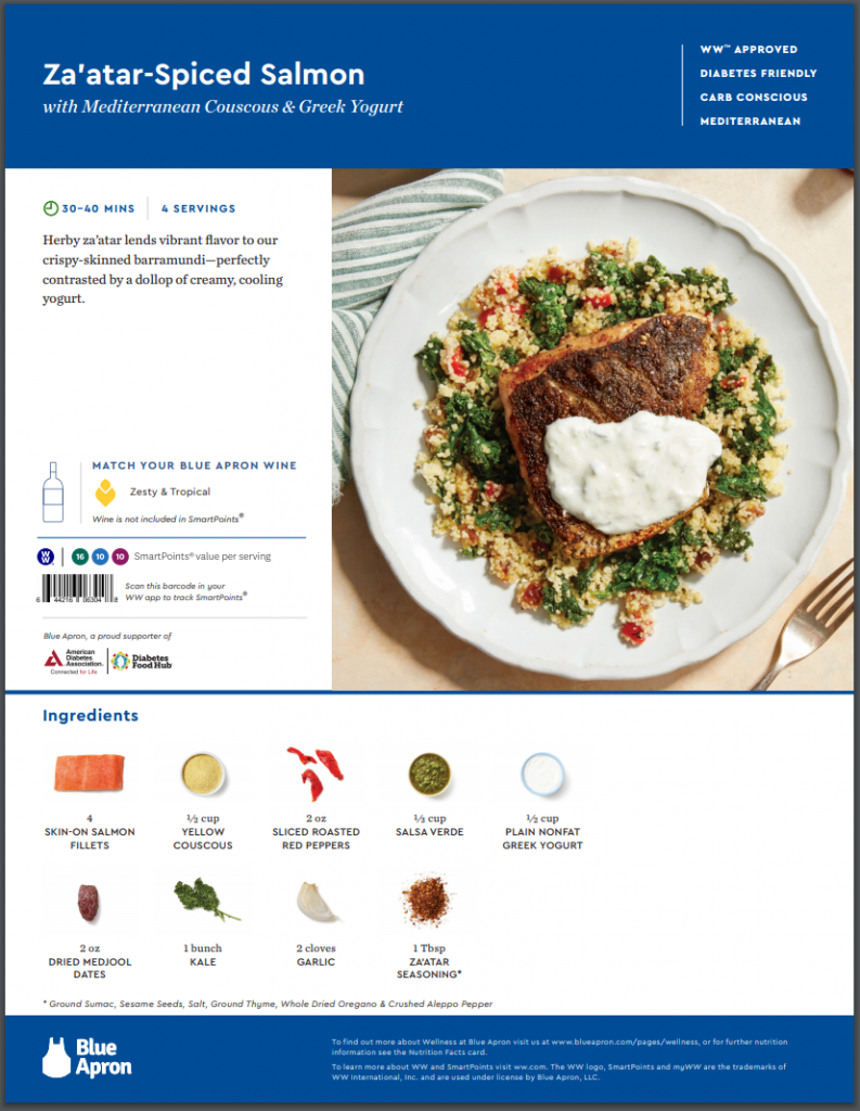The front of the Blue Apron recipe card