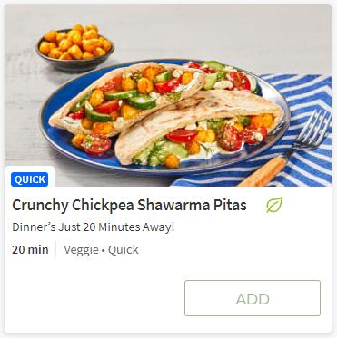 Crunchy Chickpea Schwarma from Hello Fresh