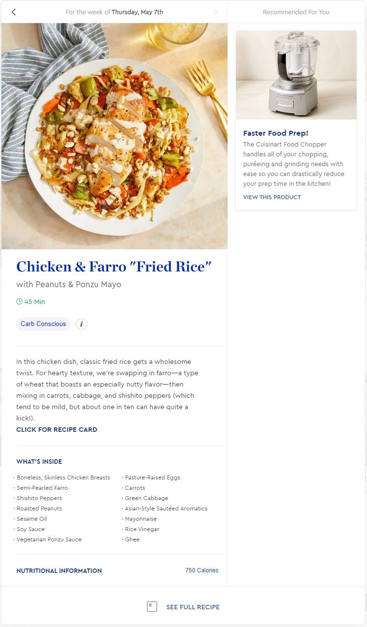 Expanded menu item on Blue Apron