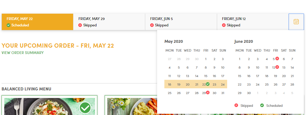 Green Chef delivery schedule with Green Chef