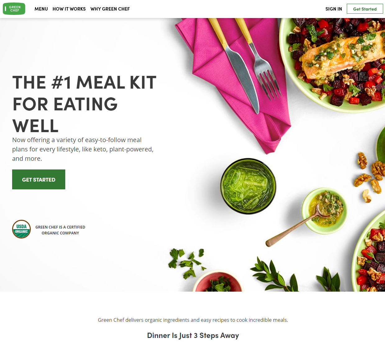 Green Chef meal delivery homepage screen shot