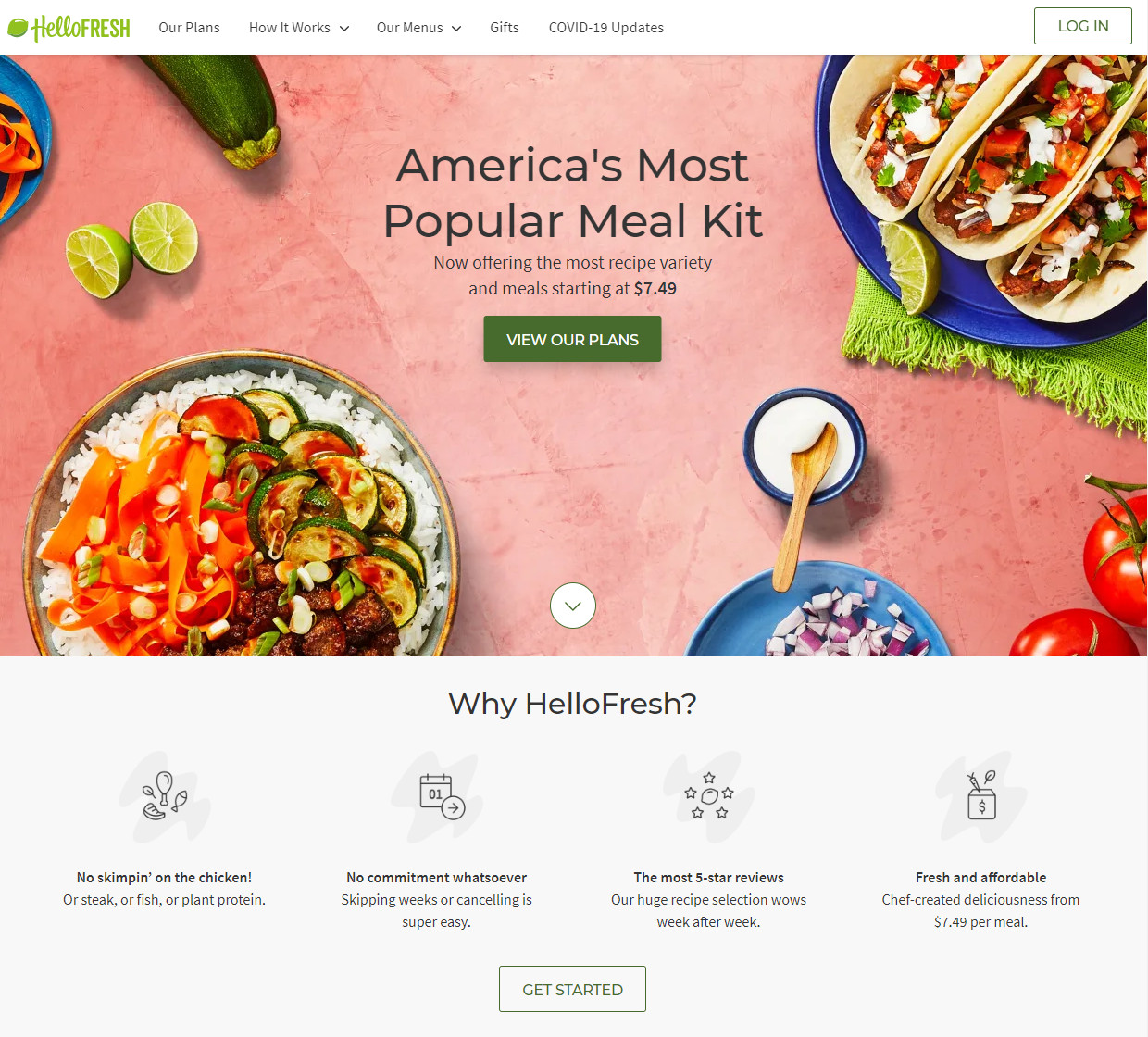 Hello Fresh meal delivery homepage screenshot