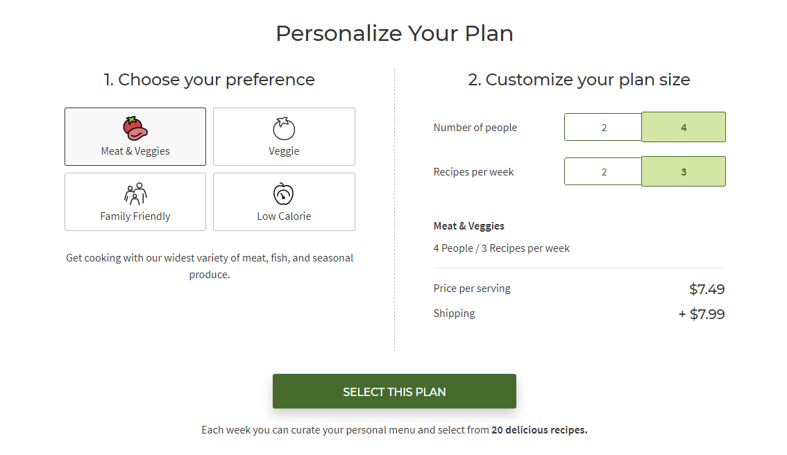 Screenshot of Hello Fresh sign up options