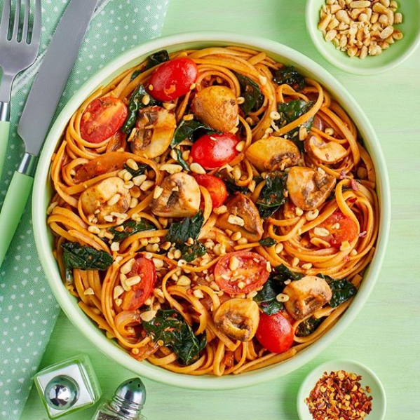 Mushroom and tomato linguine from Green Chef