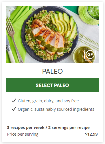 Paleo meal plan from Green Chef