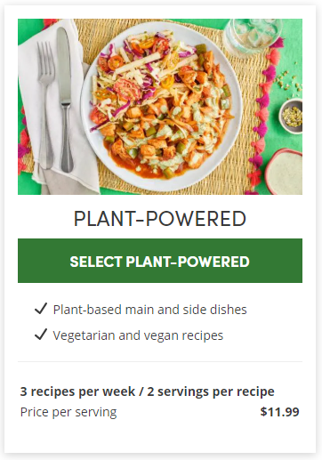 Plant-powered meal plan from Green Chef