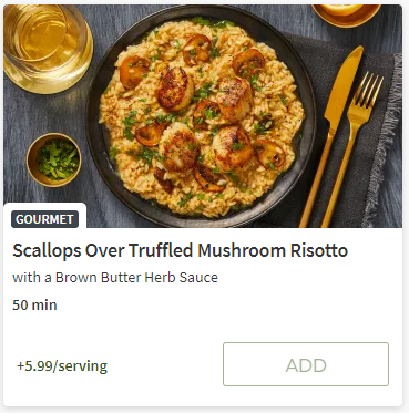 Scallops over truffled Mushroom Risotto from Hello Fresh