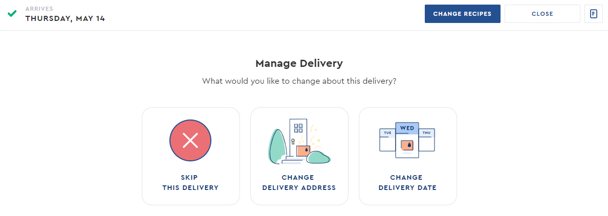 Skip delivery with Blue Apron