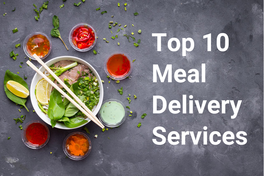 Food with the words top 10 meal delivery services