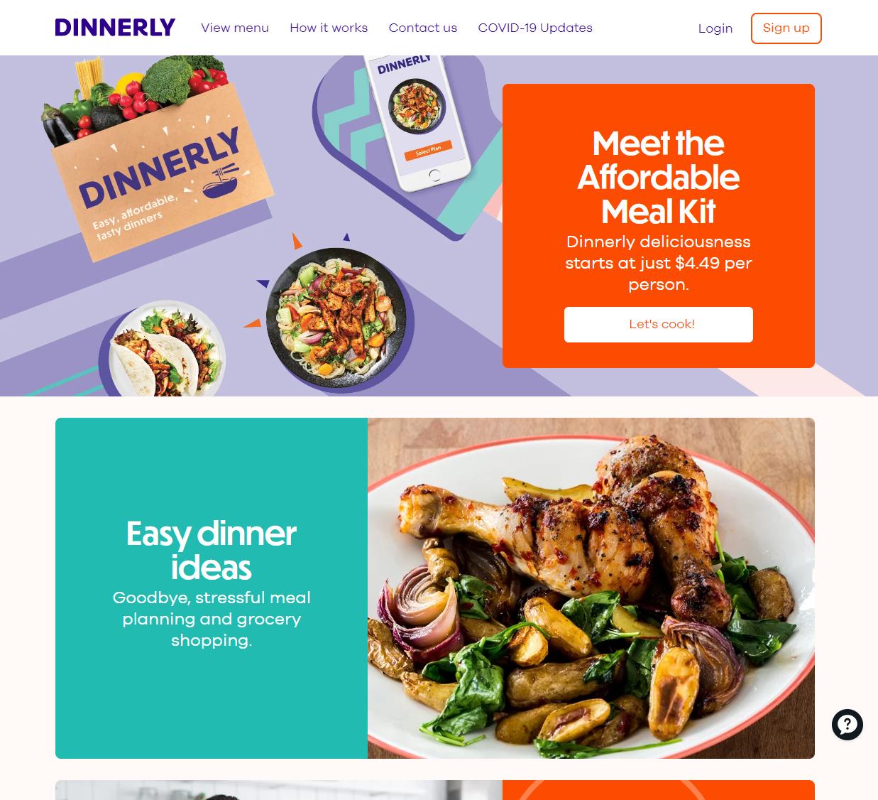 Dinnerly homepage screenshot