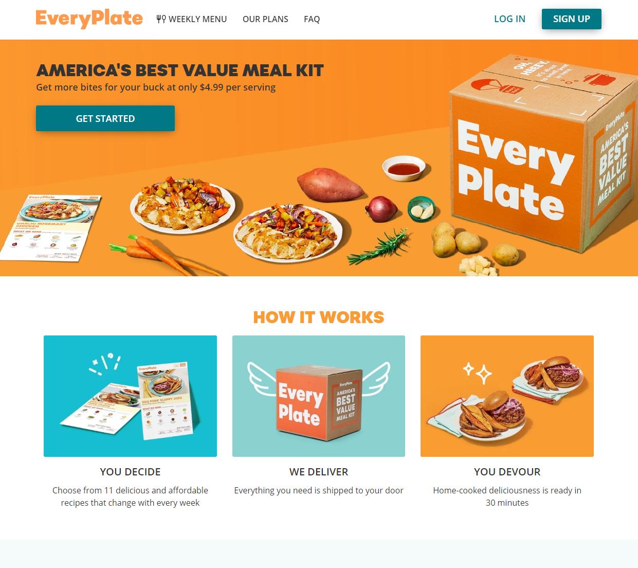 Everyplate homepage screenshot